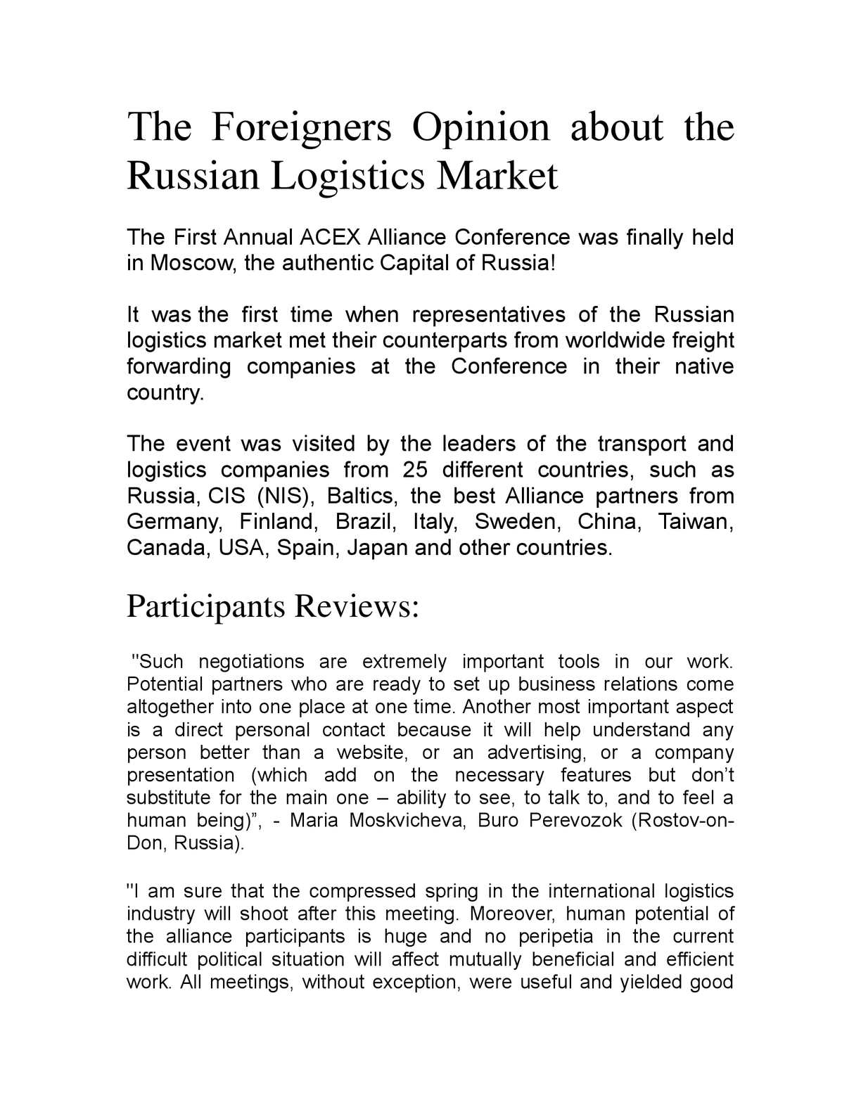 Calaméo - The Foreigners Opinion about the Russian Logistics