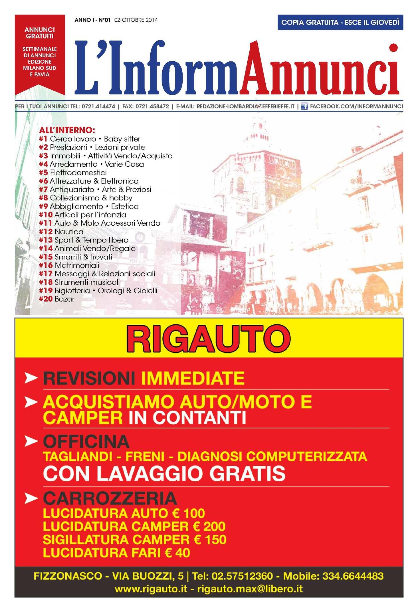Calameo L Informannunci Ed Milano Sud N 1 Del 02 10 2014