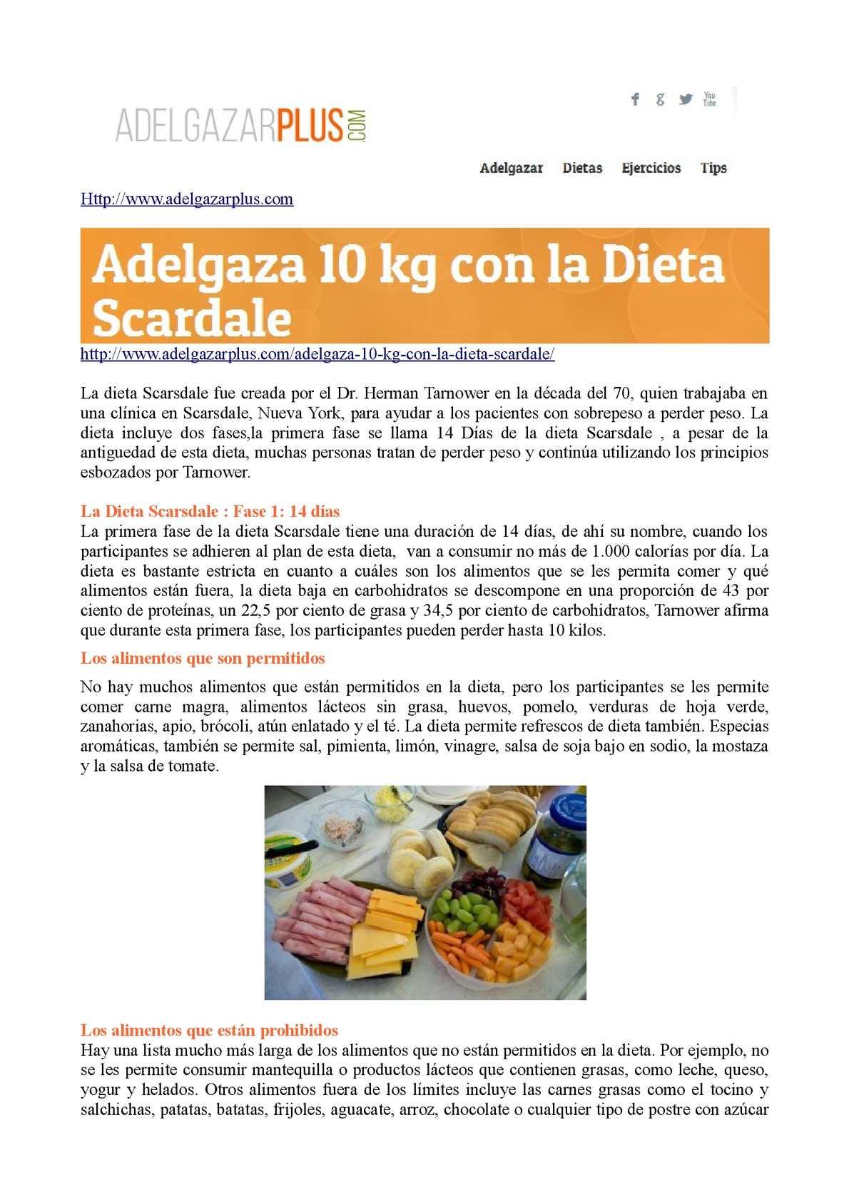 Dieta para bajar 10 kilos en 14 dias