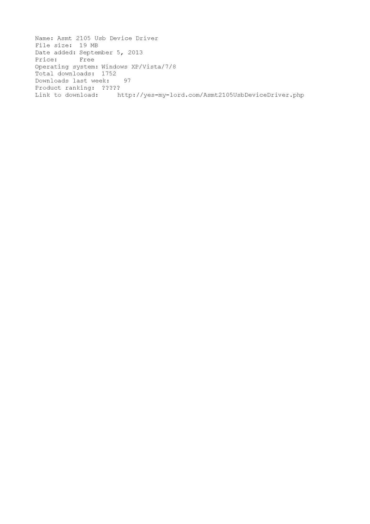 Asmt 2105 usb driver download.