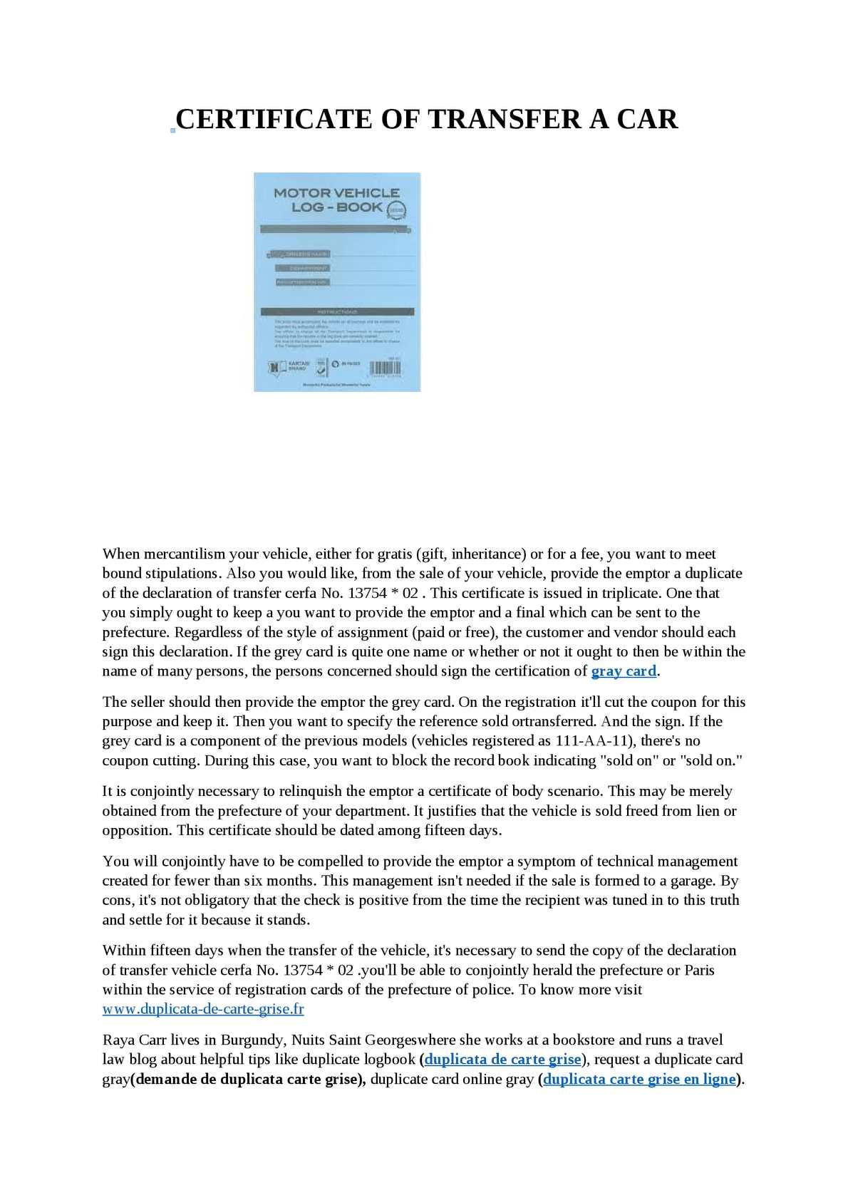 prefecture de paris carte grise Calaméo   Certificate Of Transfer A Car