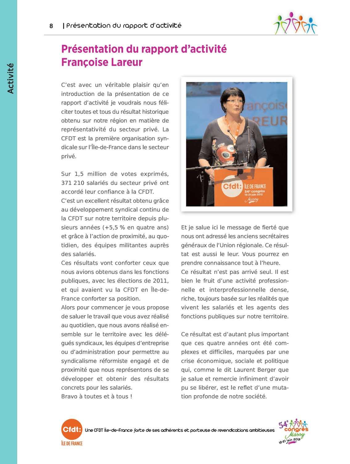 Calameo Presentation Du Rapport D Activite Par Francoise Lareur