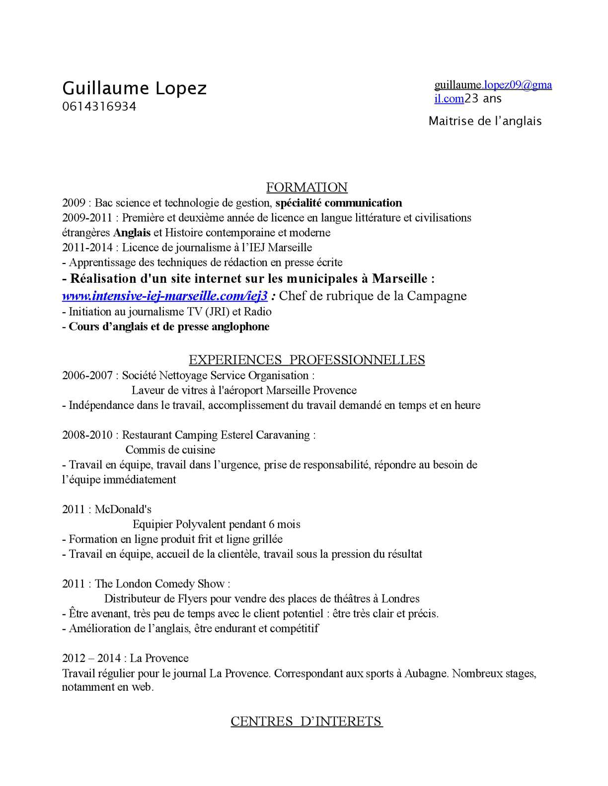 Calameo Cv Guillaume Lopez