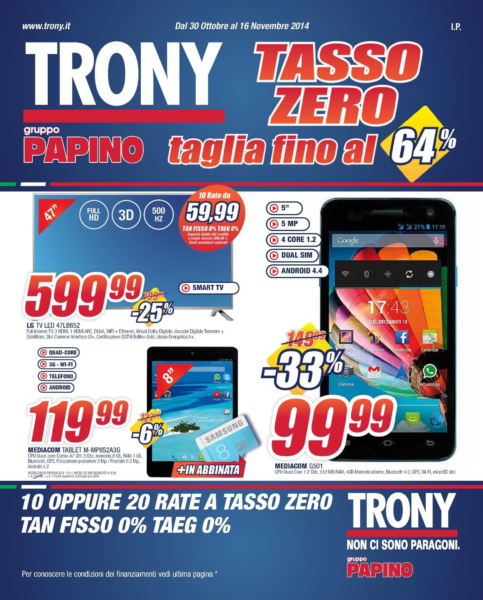 Calaméo - Volantino Trony gruppo Papino dal 30/10 al 16/11 ...