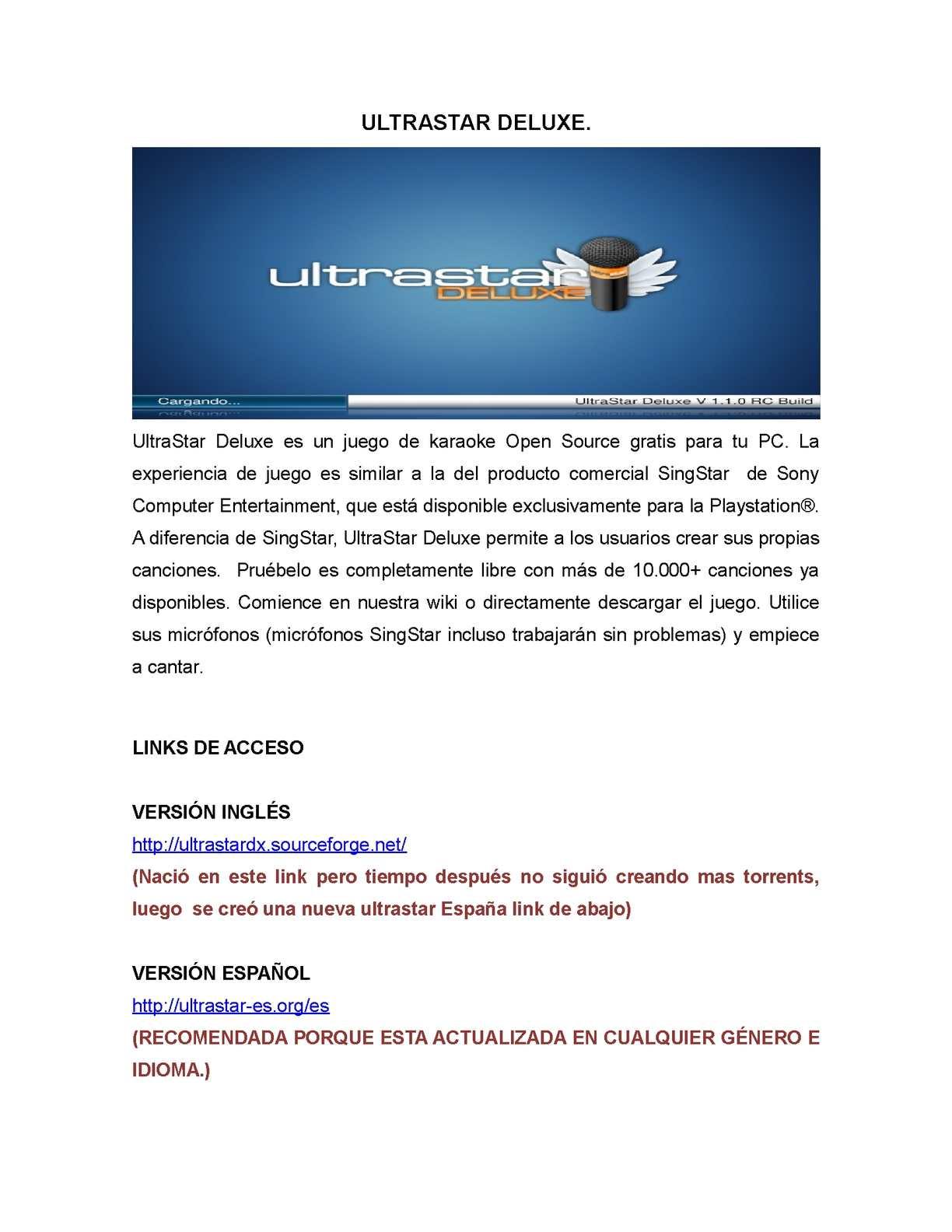 ultrastar karaoke español descargar gratis