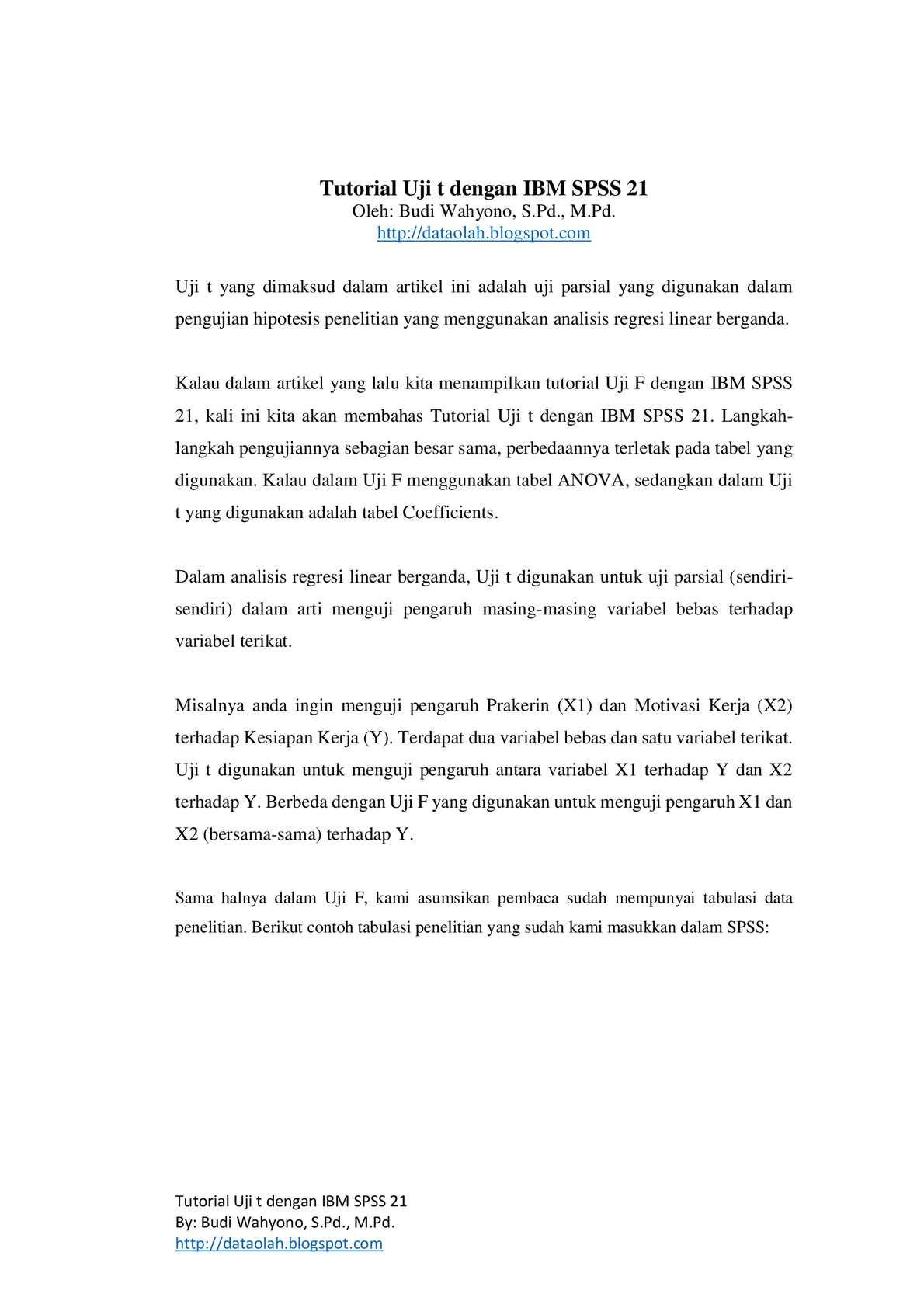 Calaméo Tutorial Uji T Dengan Ibm Spss 21