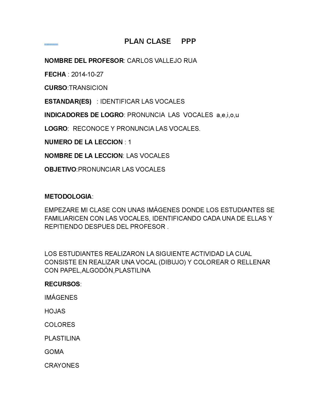 Calaméo Plan Clase Carlos Vallejo Rua 1