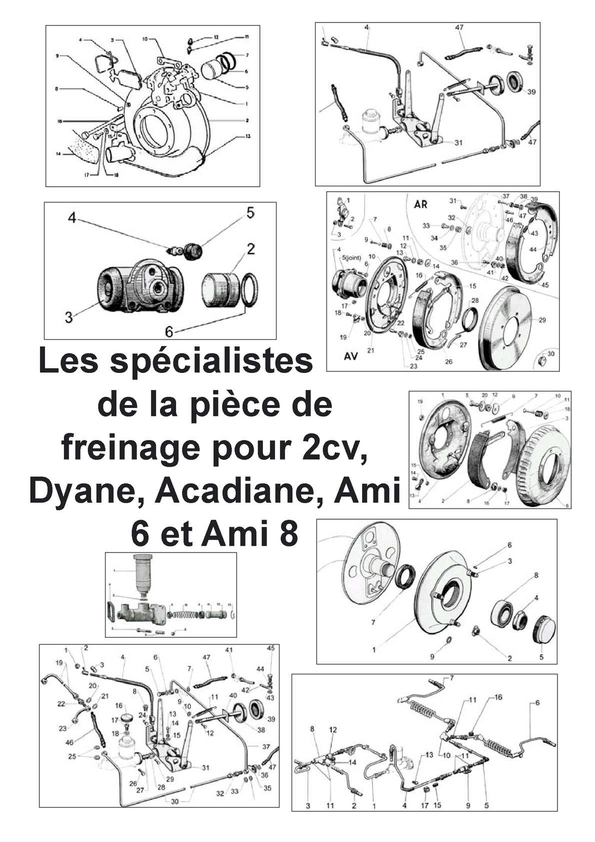 calam o catalogue special pieces de freinage pour 2cv dyane acadiane mehari ami 6 et ami 8. Black Bedroom Furniture Sets. Home Design Ideas
