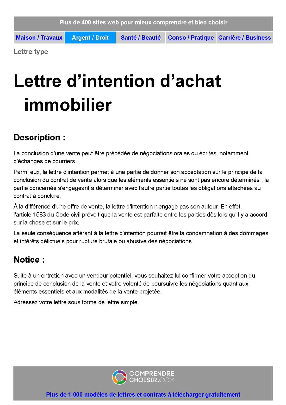 Calaméo Lettre D Intention D Achat