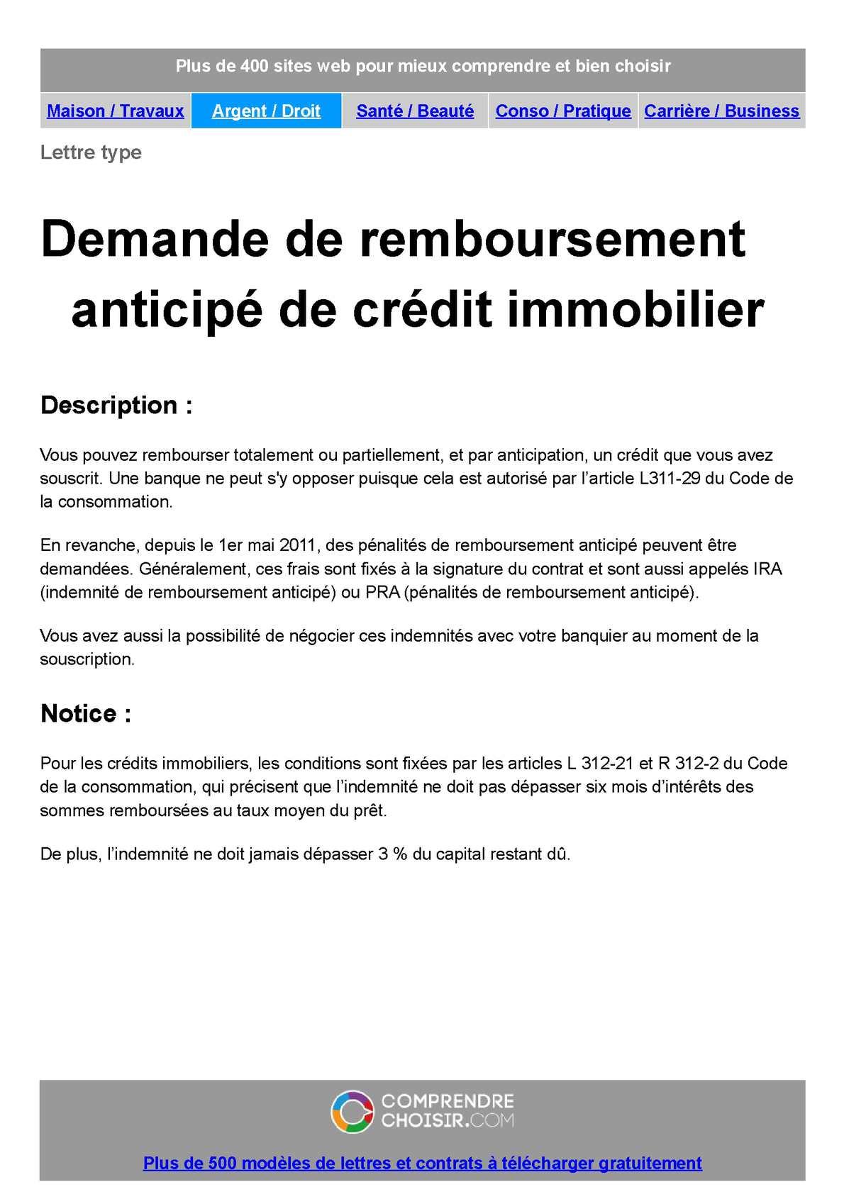 Calameo Credit Immobilier Demande De Remboursement Anticipe