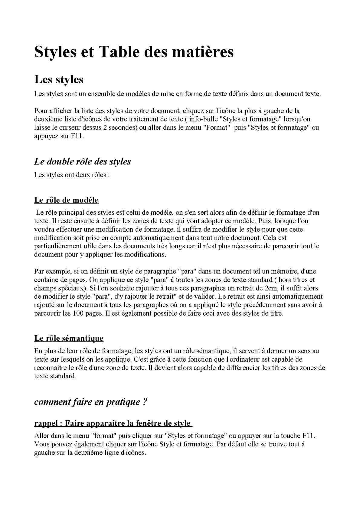 Calameo Cours Style Et Tables Des Matieres