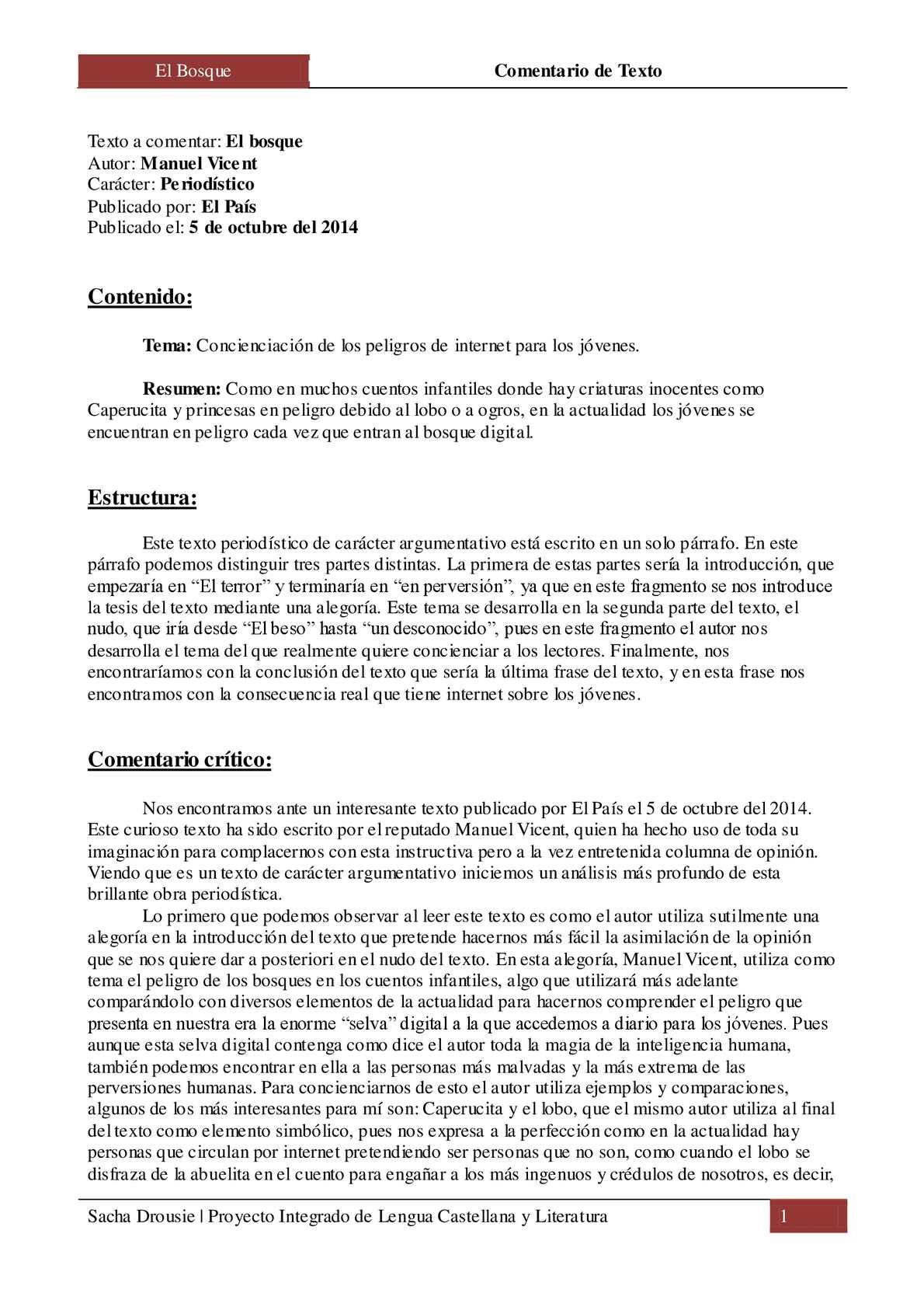 Calaméo El Bosque Comentario De Texto Por Sacha Drousie