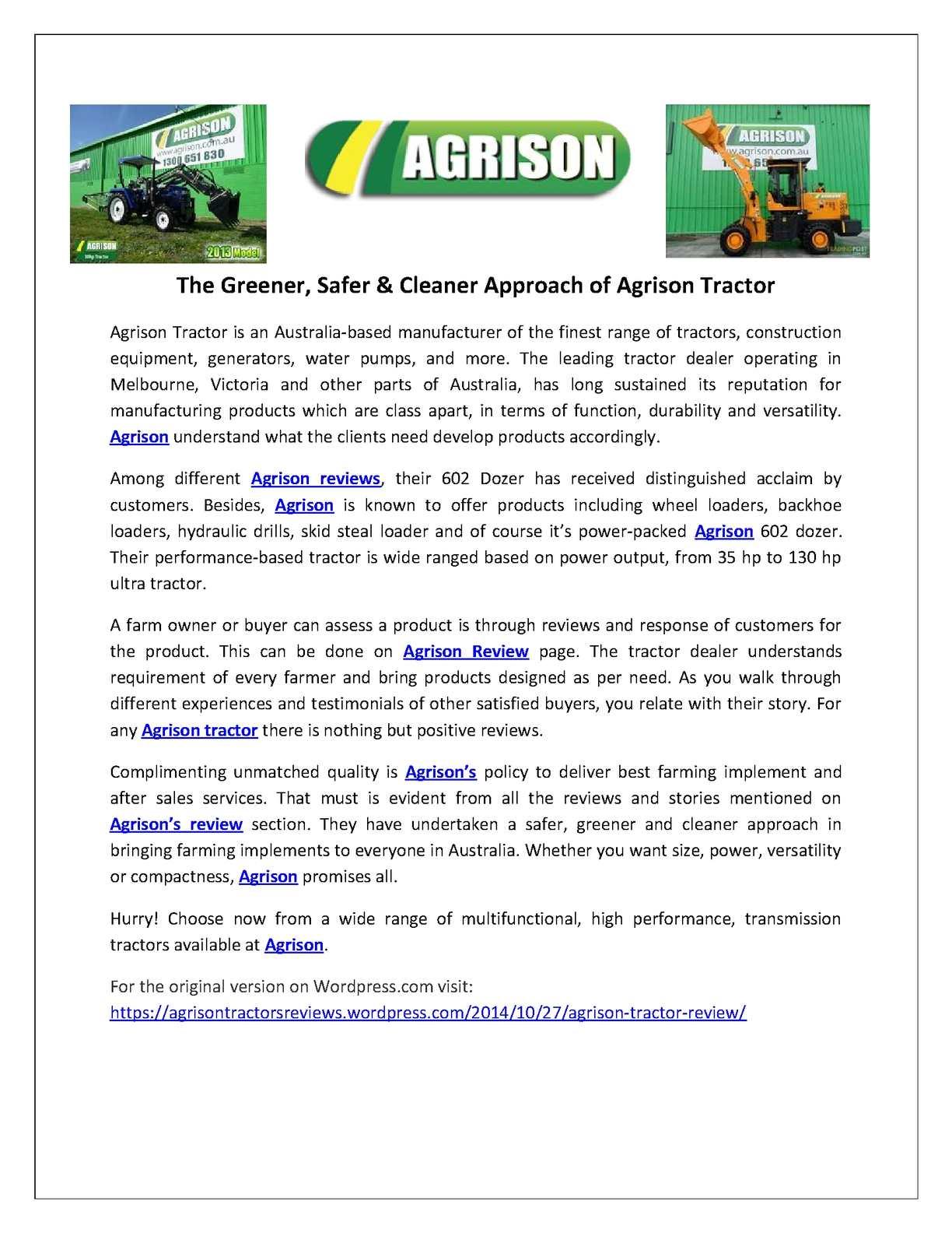 Calaméo - Agrison Tractors Reviews