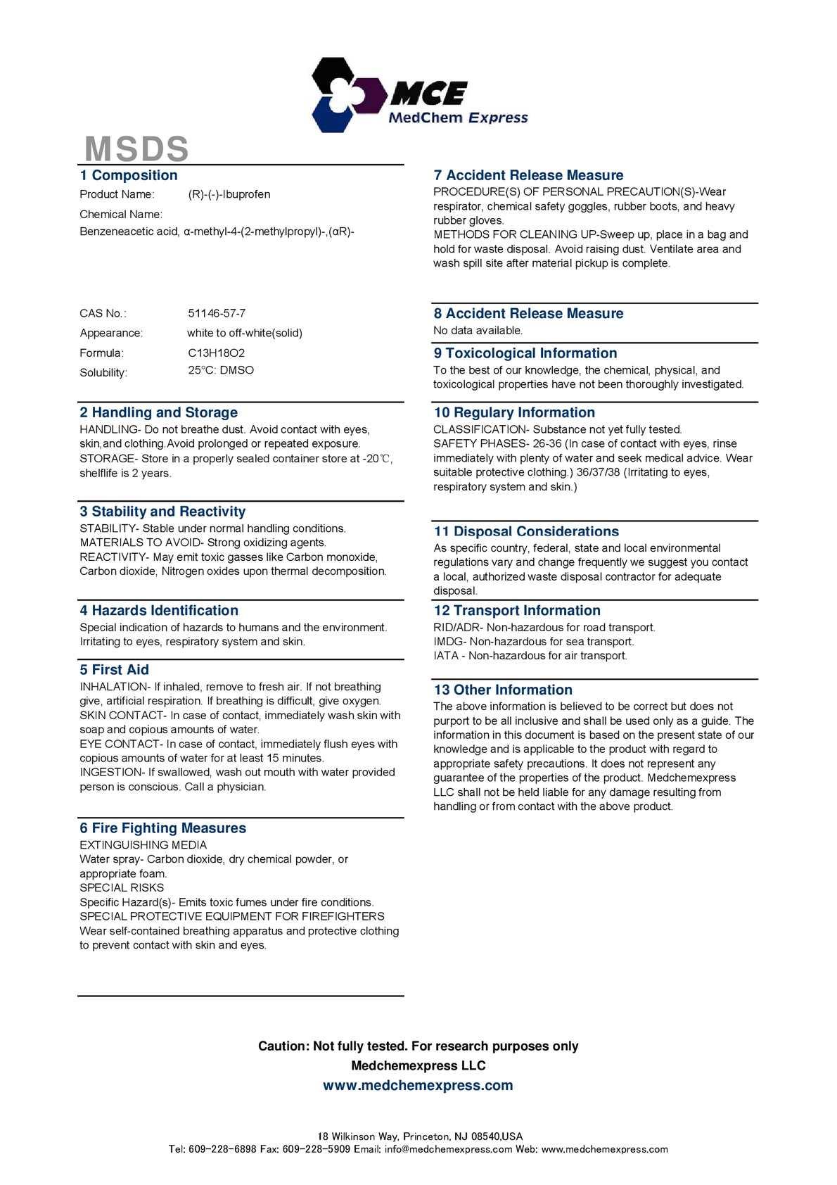 Calaméo - (R)-(-)-Ibuprofen 51146 57 7 MSDS Med Chem Express