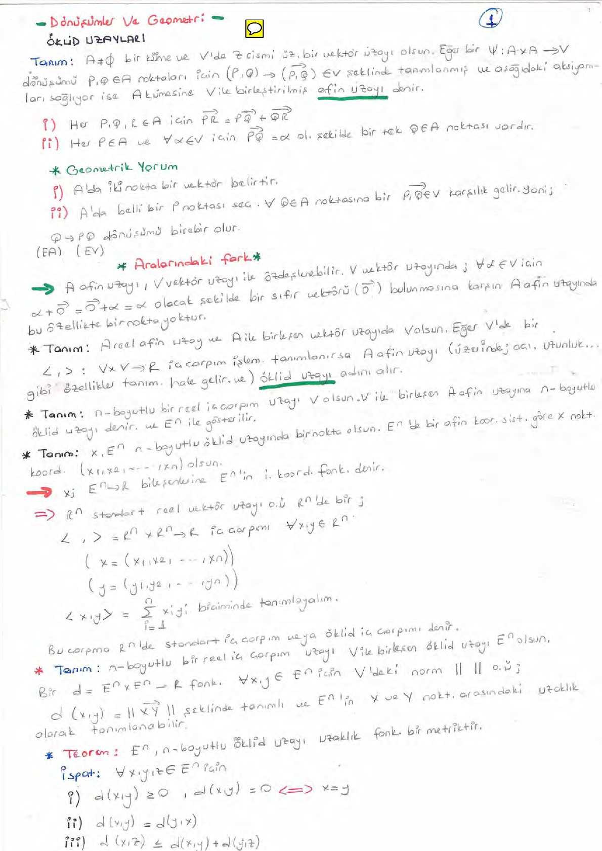 Dönüşümler Ve Geometri Ders Notu (2013-2014 Güz Dönemi))