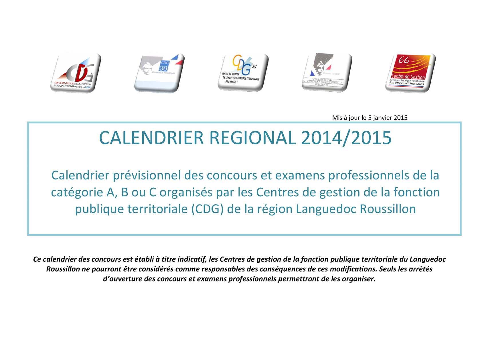 Concours Fonction Publique Categorie C Calendrier.Calameo Calendrier Regional 2014 2015 Maj 05 01 15v2