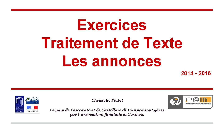 Calaméo - Exercices Traitement De Texte 2014