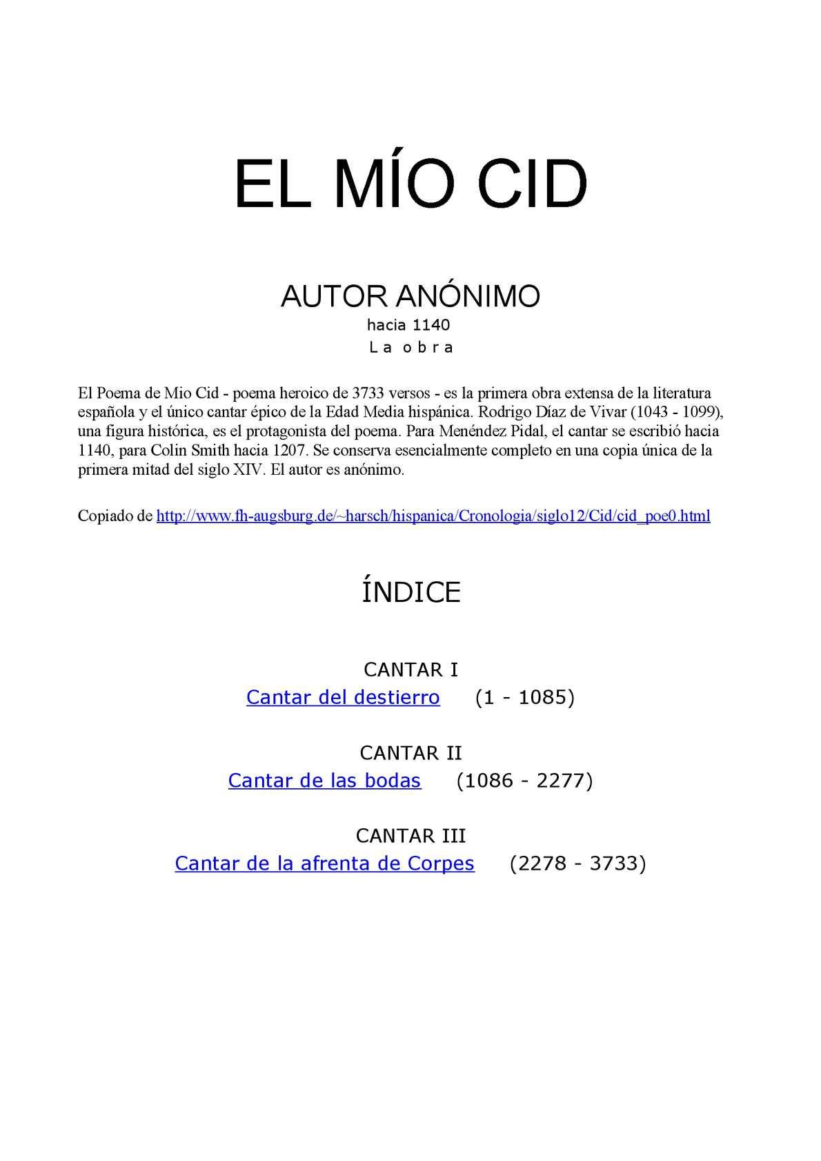 Calaméo Poema El Mio Cid