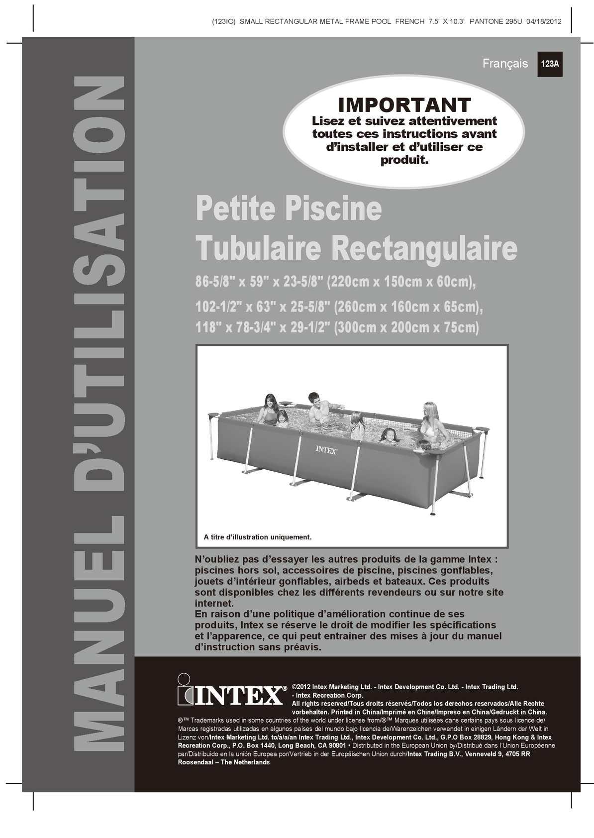 Calam o notice de montage piscine tubulaire intex metal - Intex piscine tubulaire rectangulaire ...