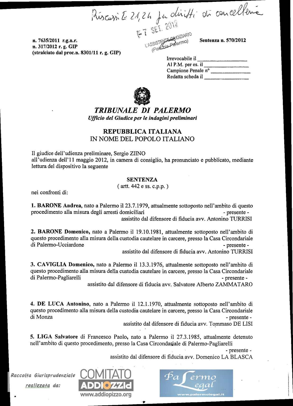 Calameo Addio Pizzo Sentenza 570 2012