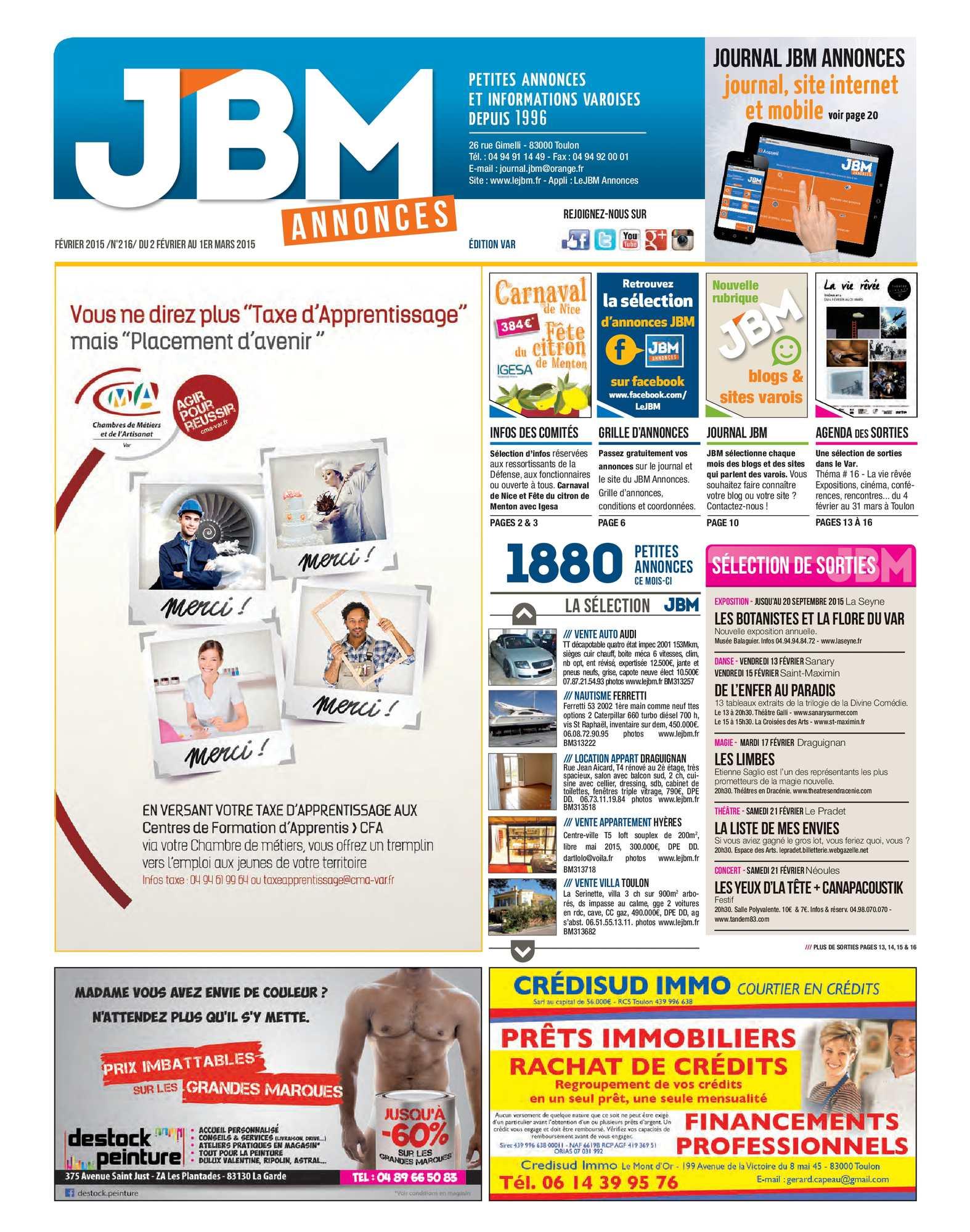 8aebfaea4fca73 Calaméo - Journal JBM Annonces n°216 Février 2015