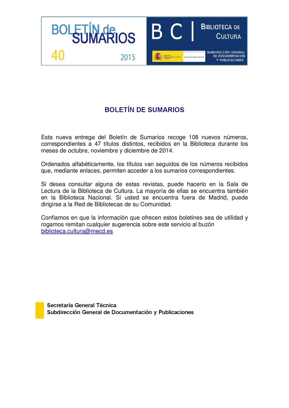 Calaméo Boletín De Sumarios Nº 40 De La Biblioteca De Cultura