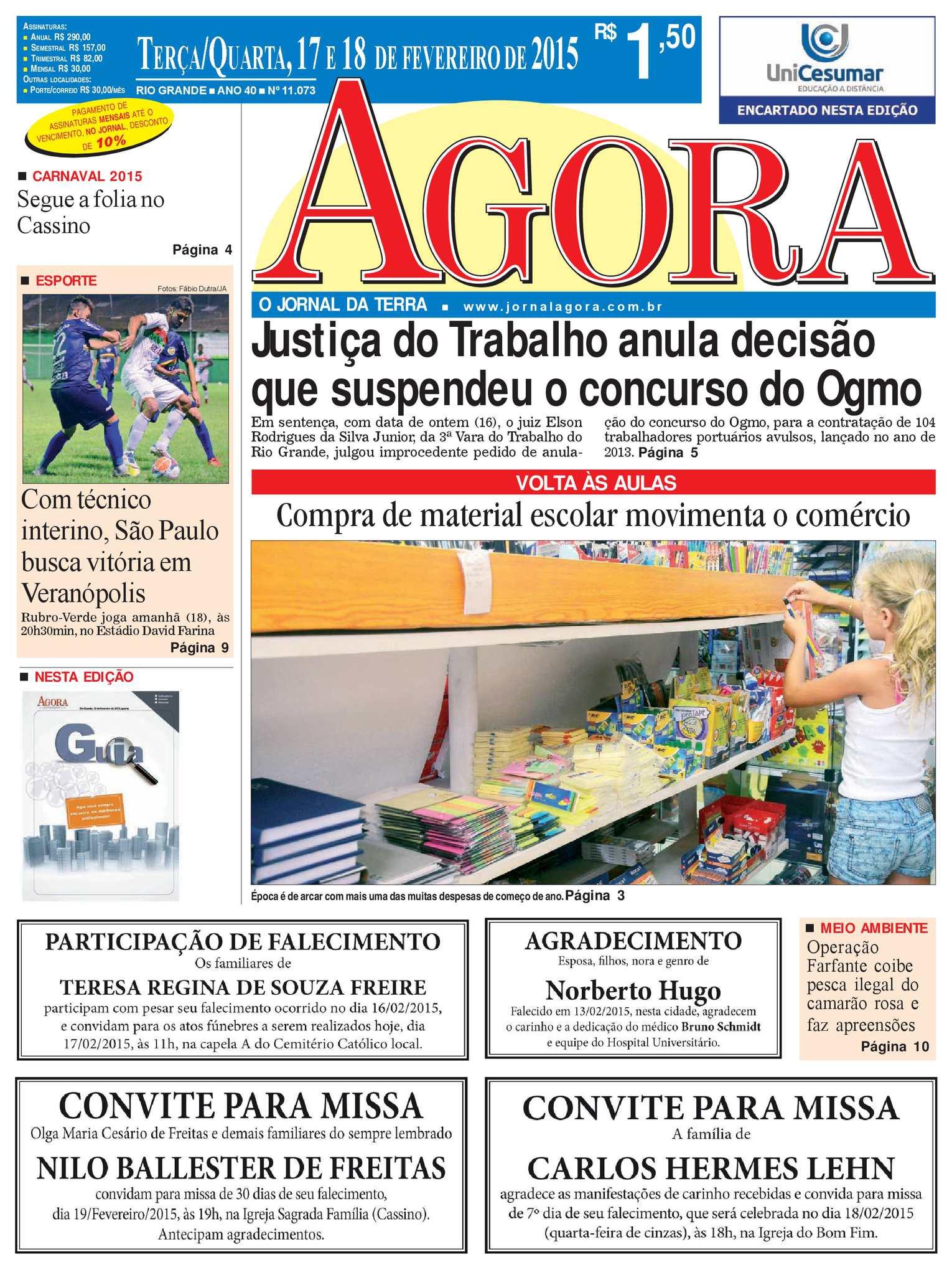 23151a65c32e9 Calaméo - Jornal Agora - Edição 11073 - 17 e 18 de Fevereiro de 2015