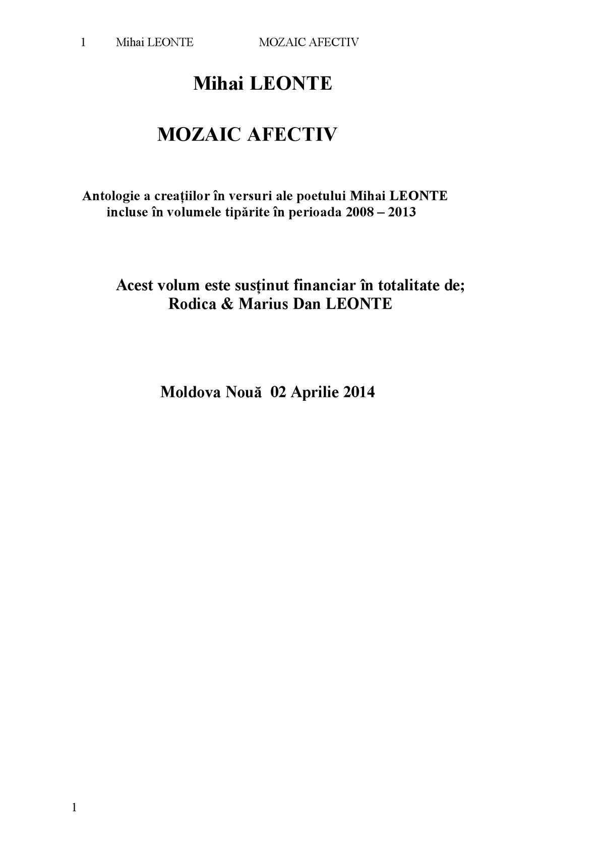 cumpăra bine 50% preț angro Calaméo - Mozaic Afectiv...autor Mihai LEONTE