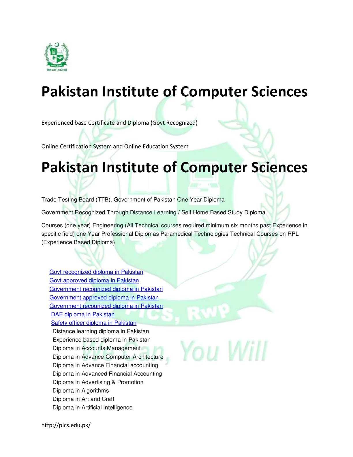 Calaméo - Pakistan Institute Of Computer Sciences