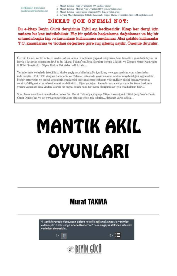 Calameo Beyin Gucu Dergisi Zeka Oyunlari Kitaplari Murat