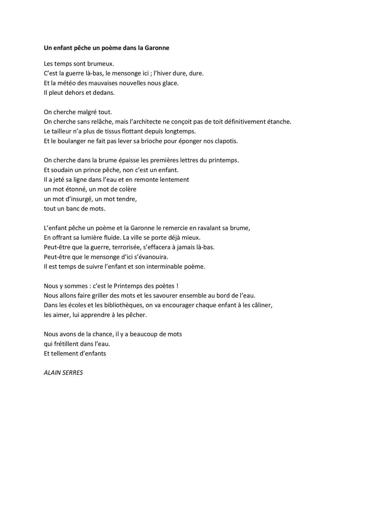 Calaméo Un Enfant Pêche Un Poème Dans La Garonne