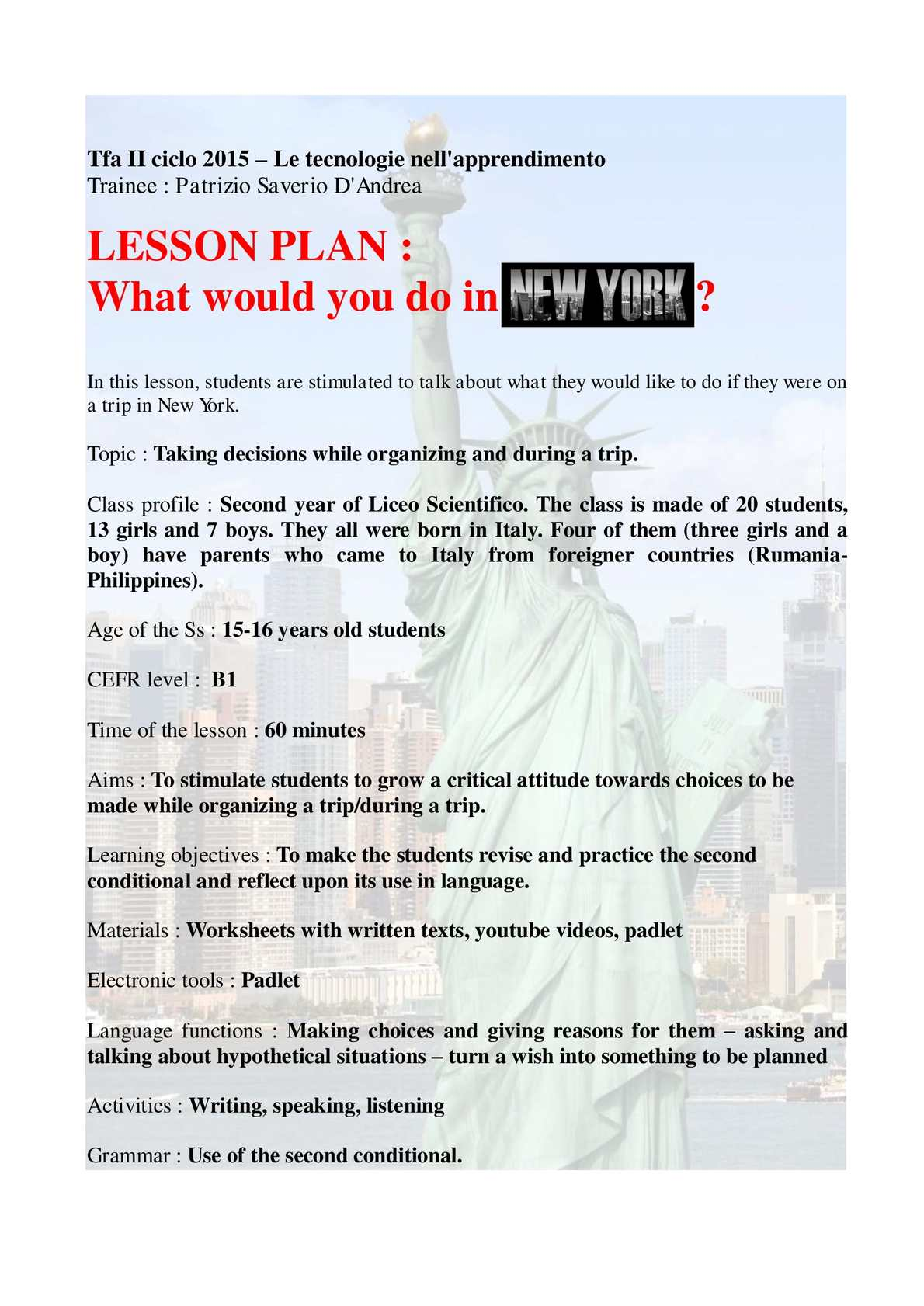 Calaméo - LESSON PLAN Patrizio Saverio D'andrea New York New York
