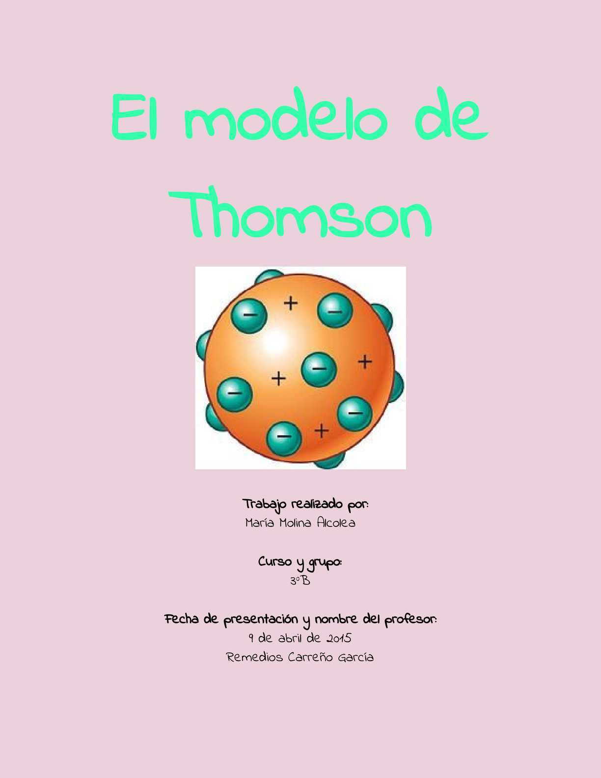 Calaméo Informe Sobre El Modelo Atómico De Thomson