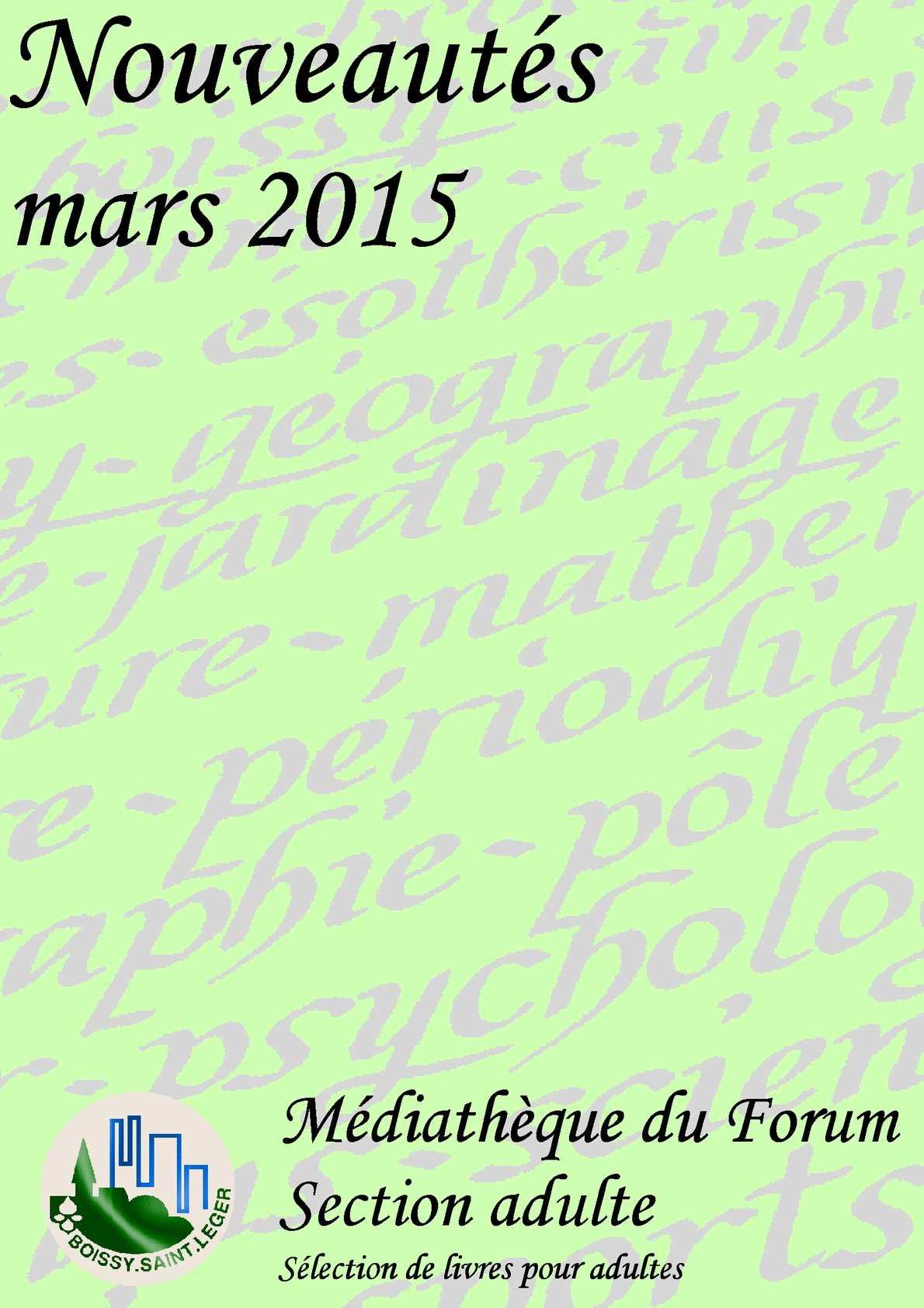 Calameo Nouveautes Adulte Mars 2015