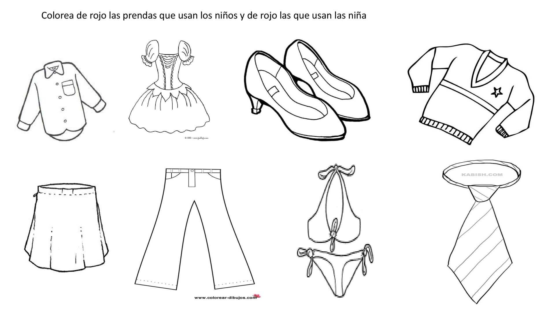 Dibujos De Vestidos Para Colorear E Imprimir: Laminas Para Colorear Prendas De Vestir