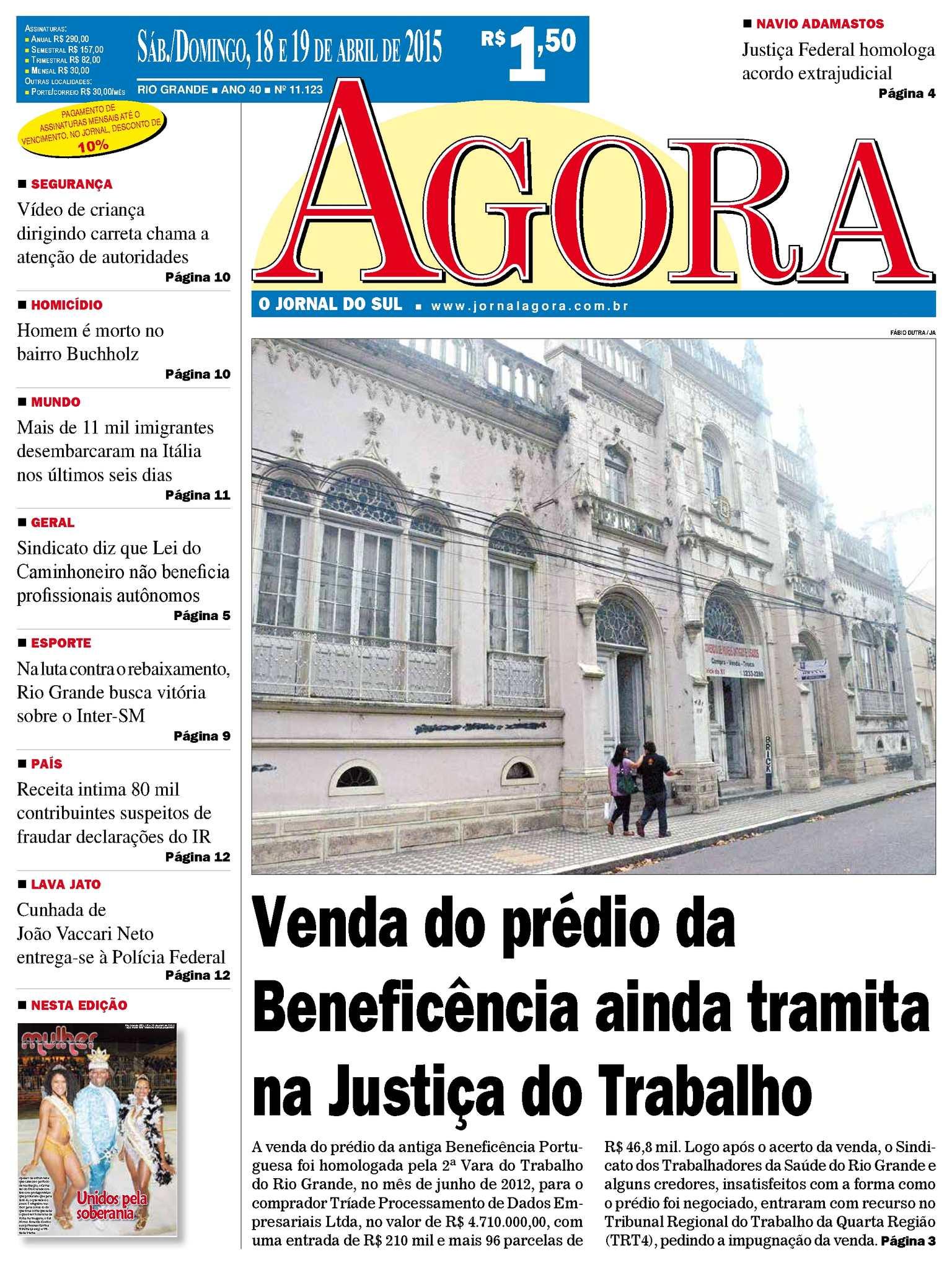 17f6675cf Calaméo - Jornal Agora - Edição 11113 - 18 e 19 de Abril de 2015
