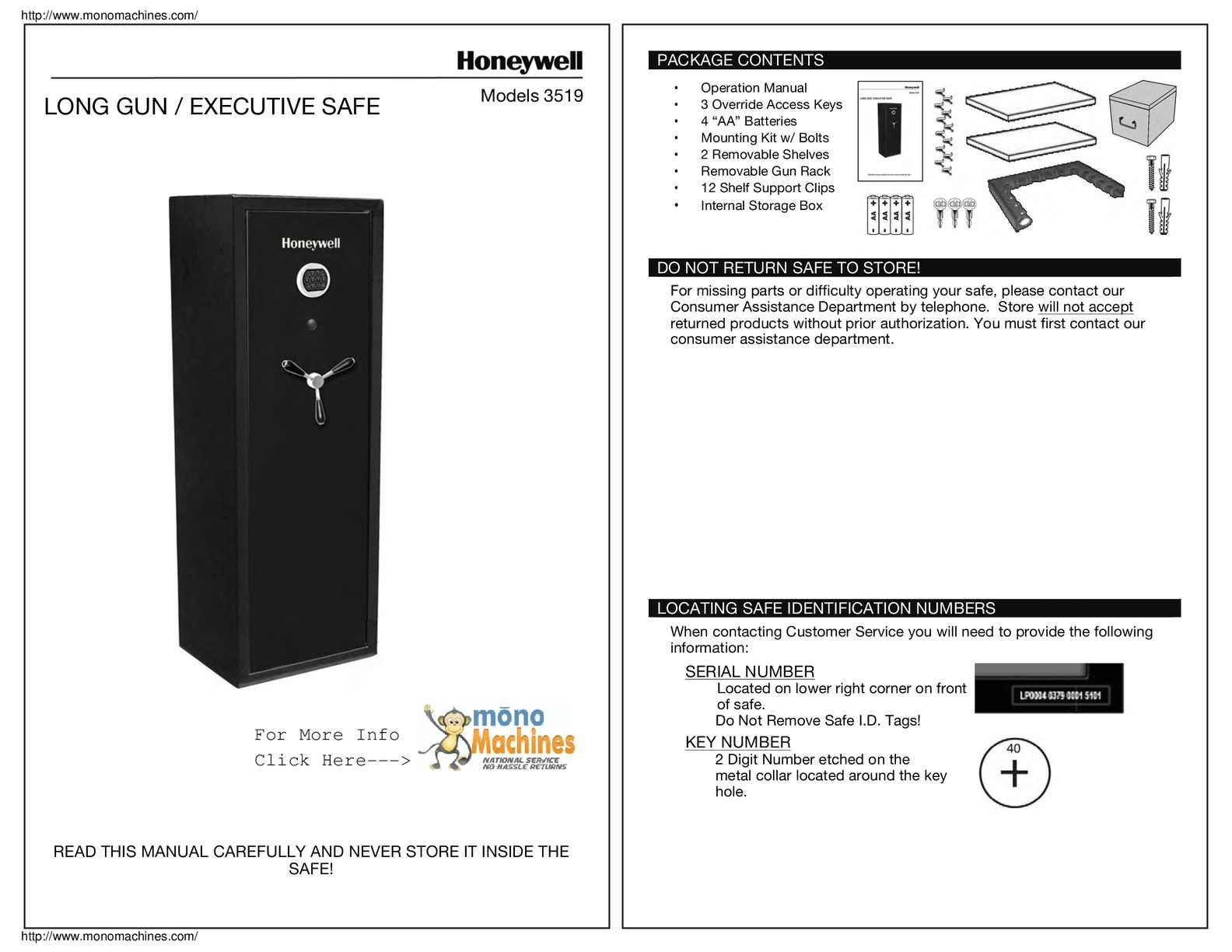 Calaméo - Honeywell 3519 Digital Lock Executive 14 Gun Safe Manual