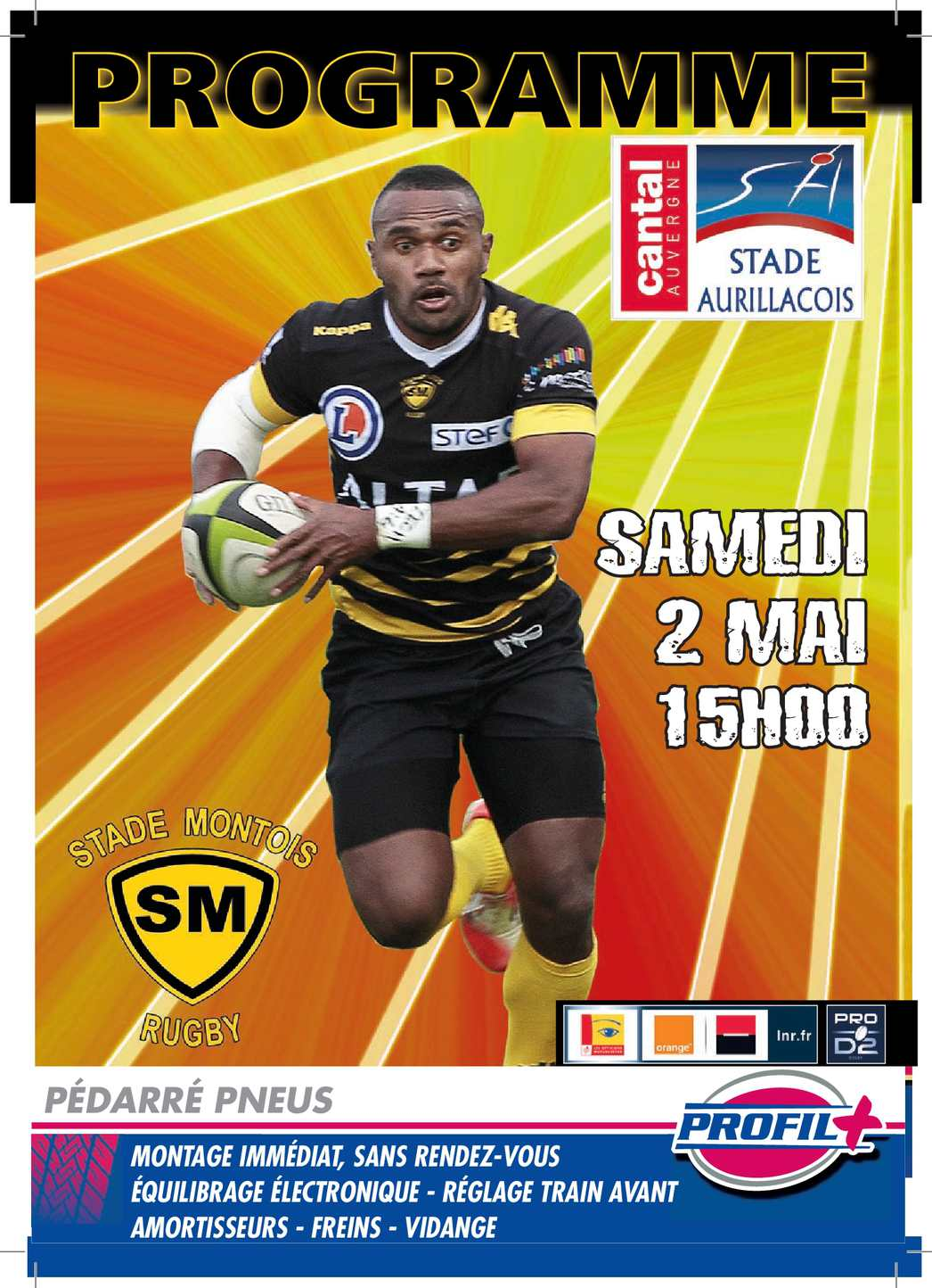calam o programme de match stade montois vs aurillac 02 05 2015. Black Bedroom Furniture Sets. Home Design Ideas