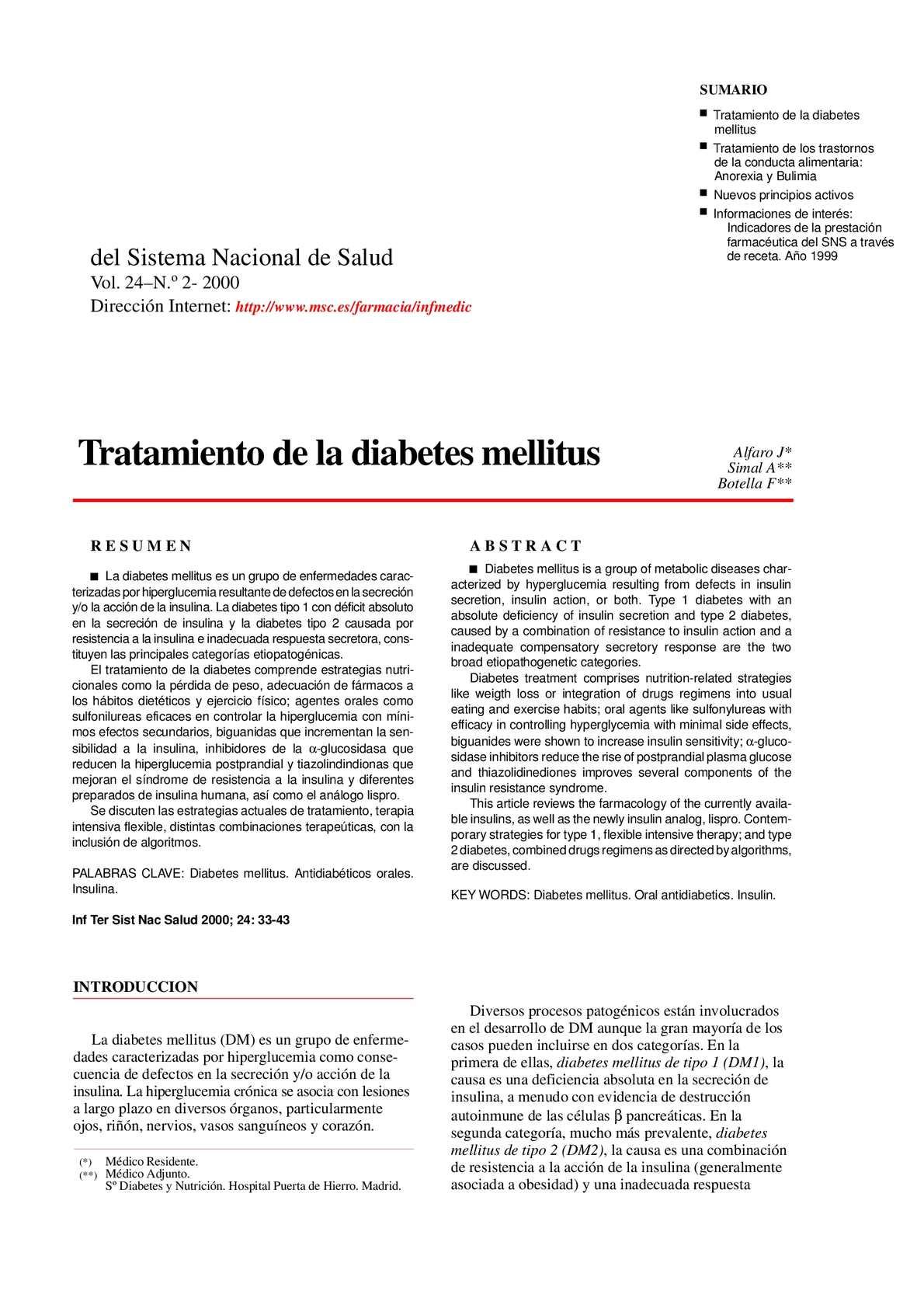 Descripción clínica de la diabetes mellitus.