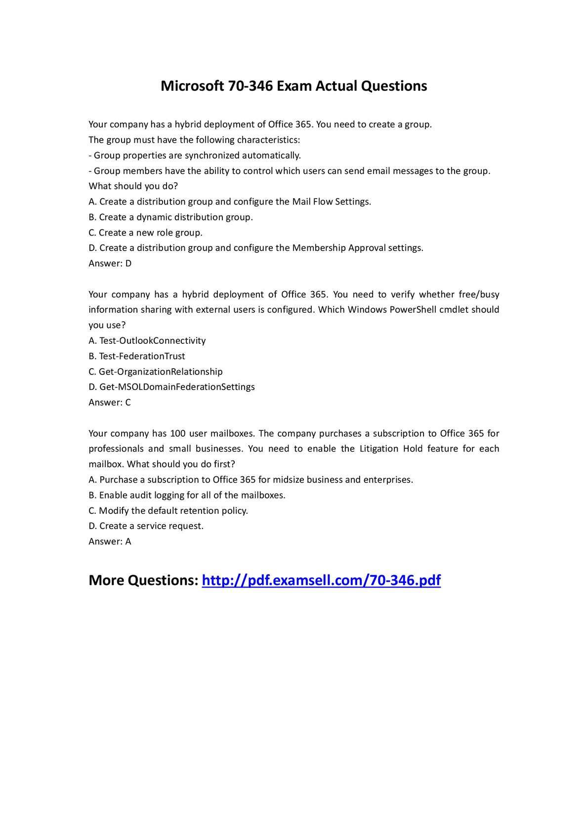 Calaméo - Actual Microsoft 70 346 Exam Test Questions