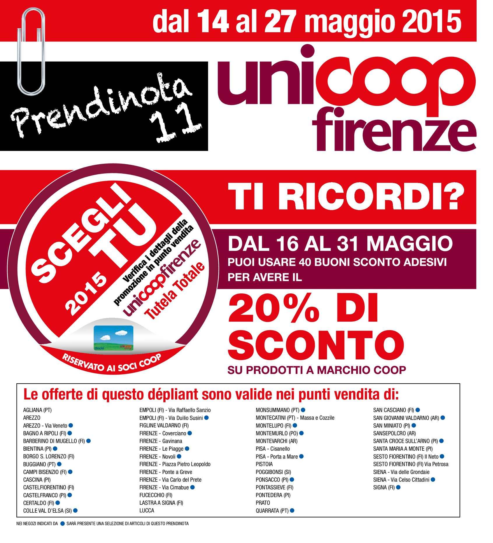 Materasso Memory Offerta Coop.Calameo Volantino Uni Coop Firenze Dal 14 Al 27 Maggio