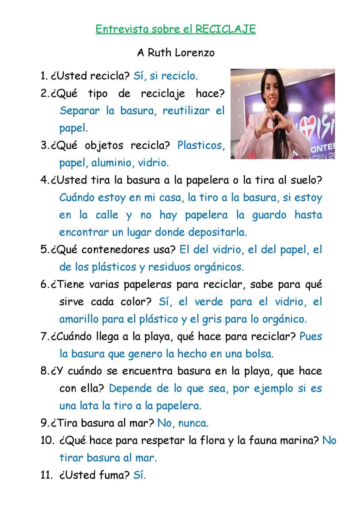 Calaméo Entrevista Sobre El Reciclaje Ruth Lorenzo