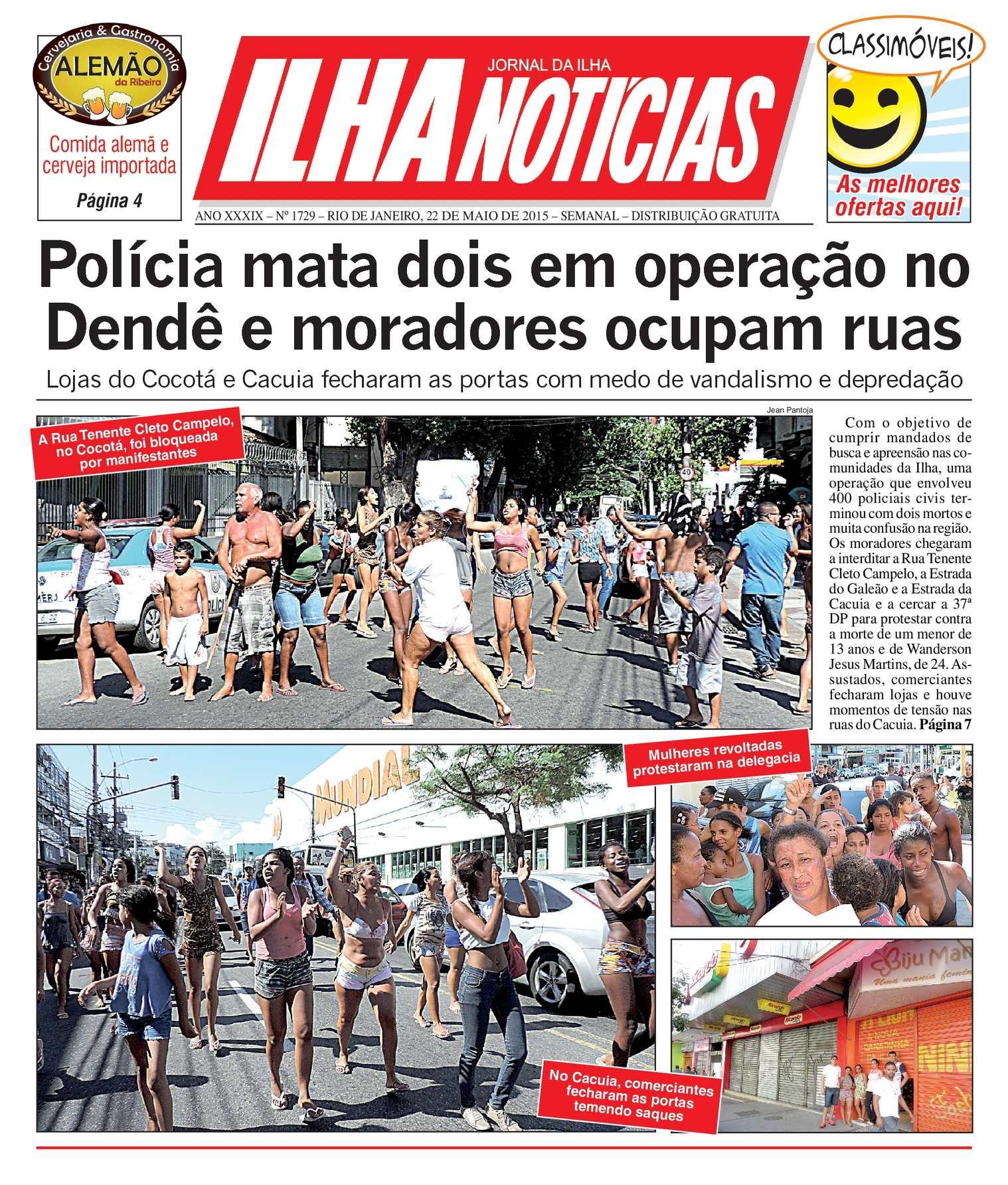 Jornal Ilha Notícias - Edição 1729 - 22/05/2015