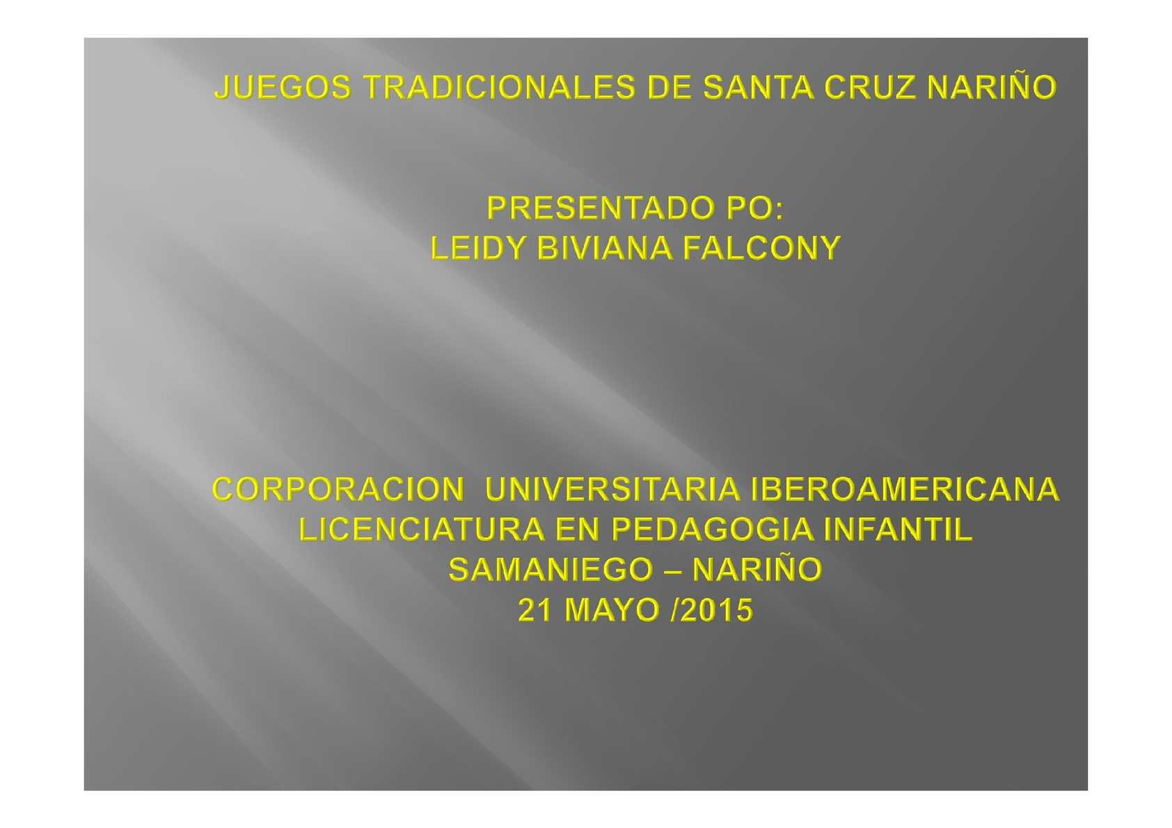 Calameo Juegos Tradicionales De Santa Cruz Narino