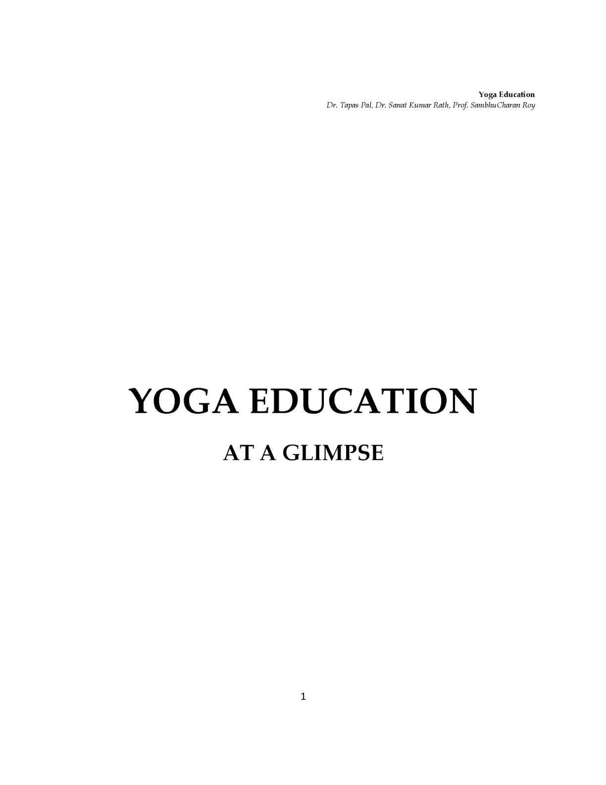 Calaméo - Yoga education, at a glimpse - Tapas Pal, Sanat