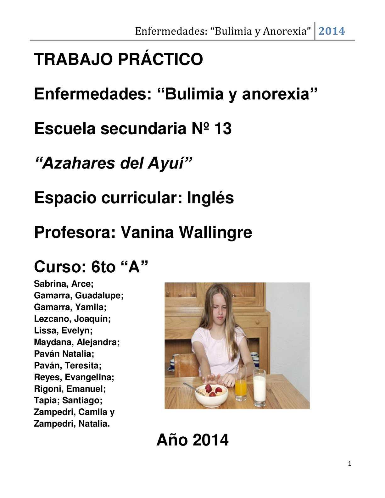 actividades anorexia y bulimia