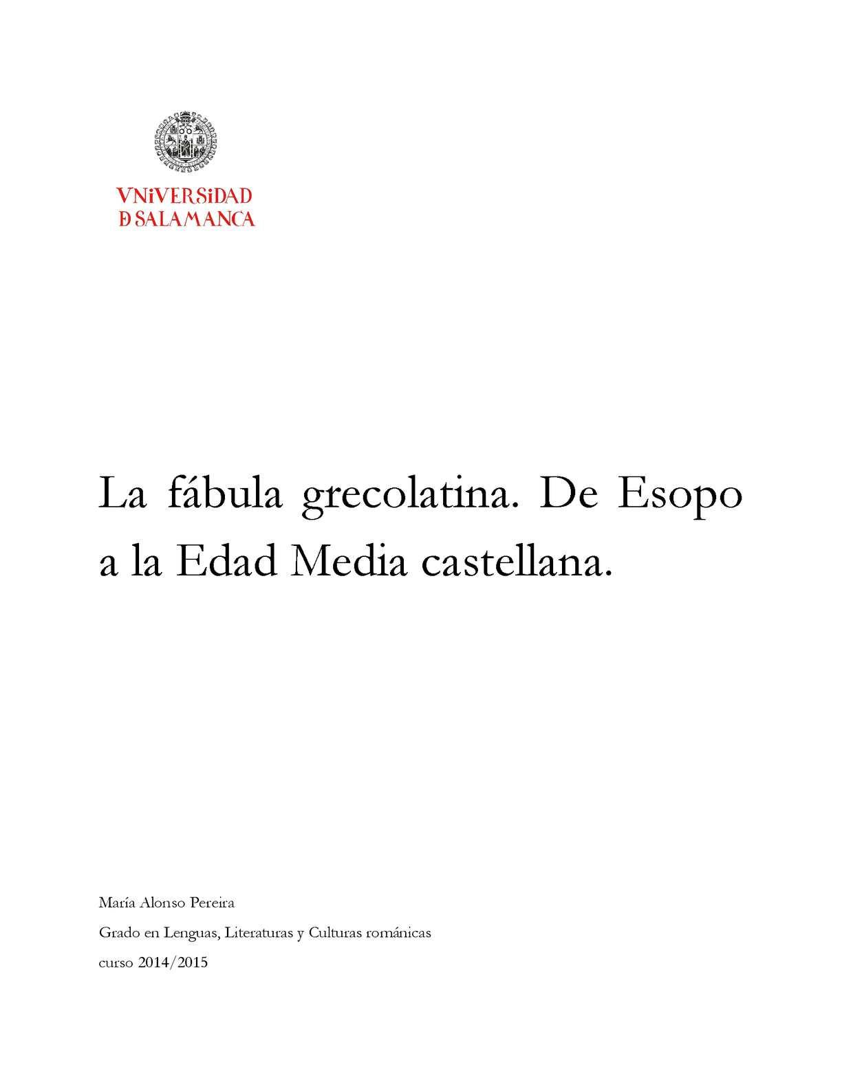 Calaméo La Fábula Grecolatina De Esopo A La Edad Media