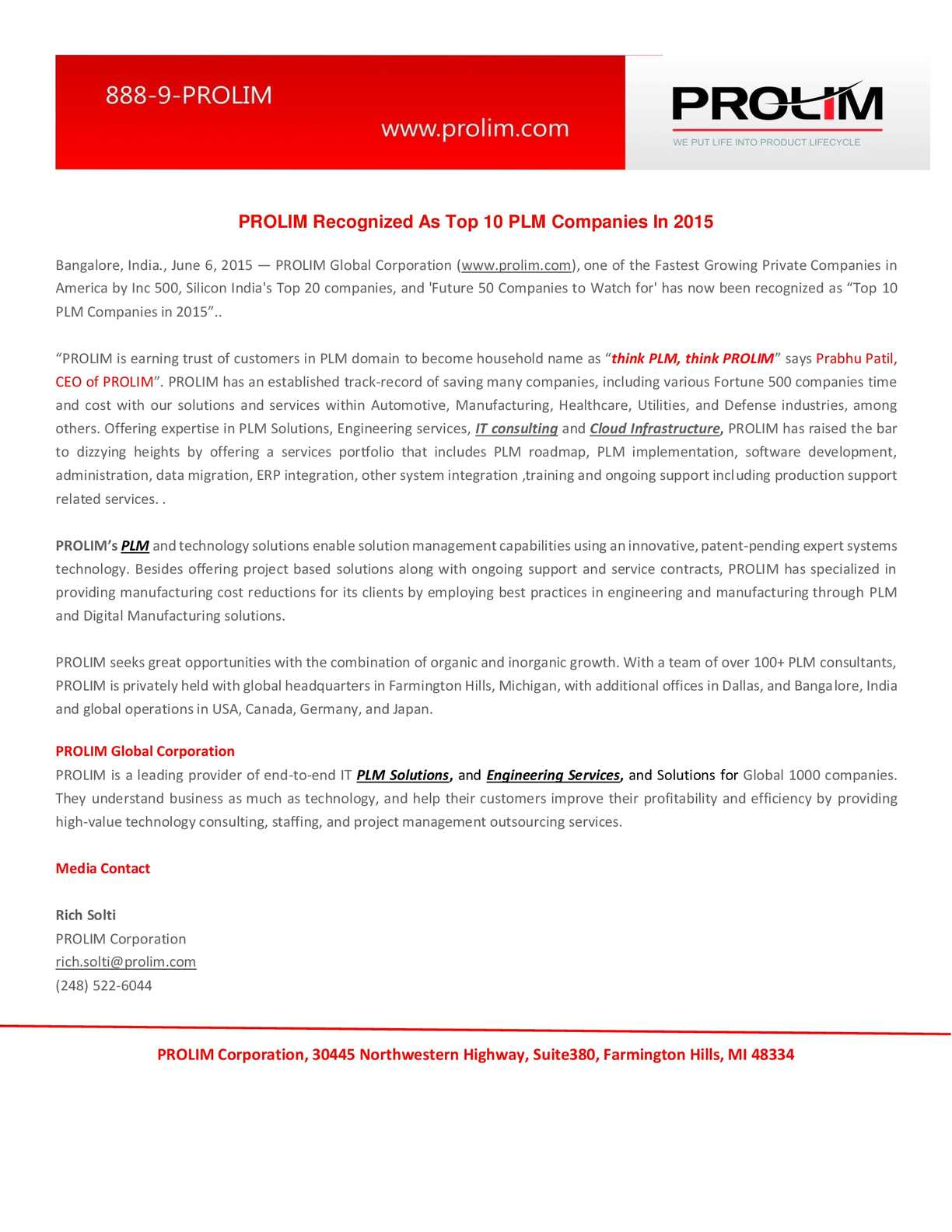 Calaméo - PROLIM Recognized As Top 10 PLM Companies In 2015