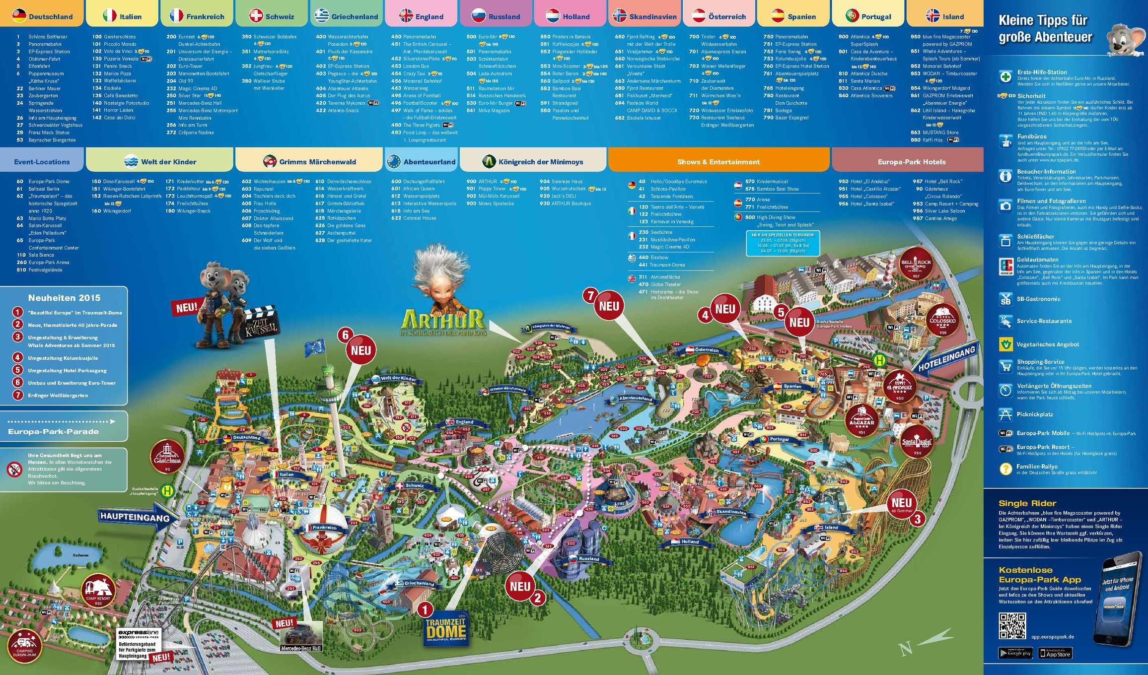 Europa Park Karte.Calameo Parkplan Europa Park 2015