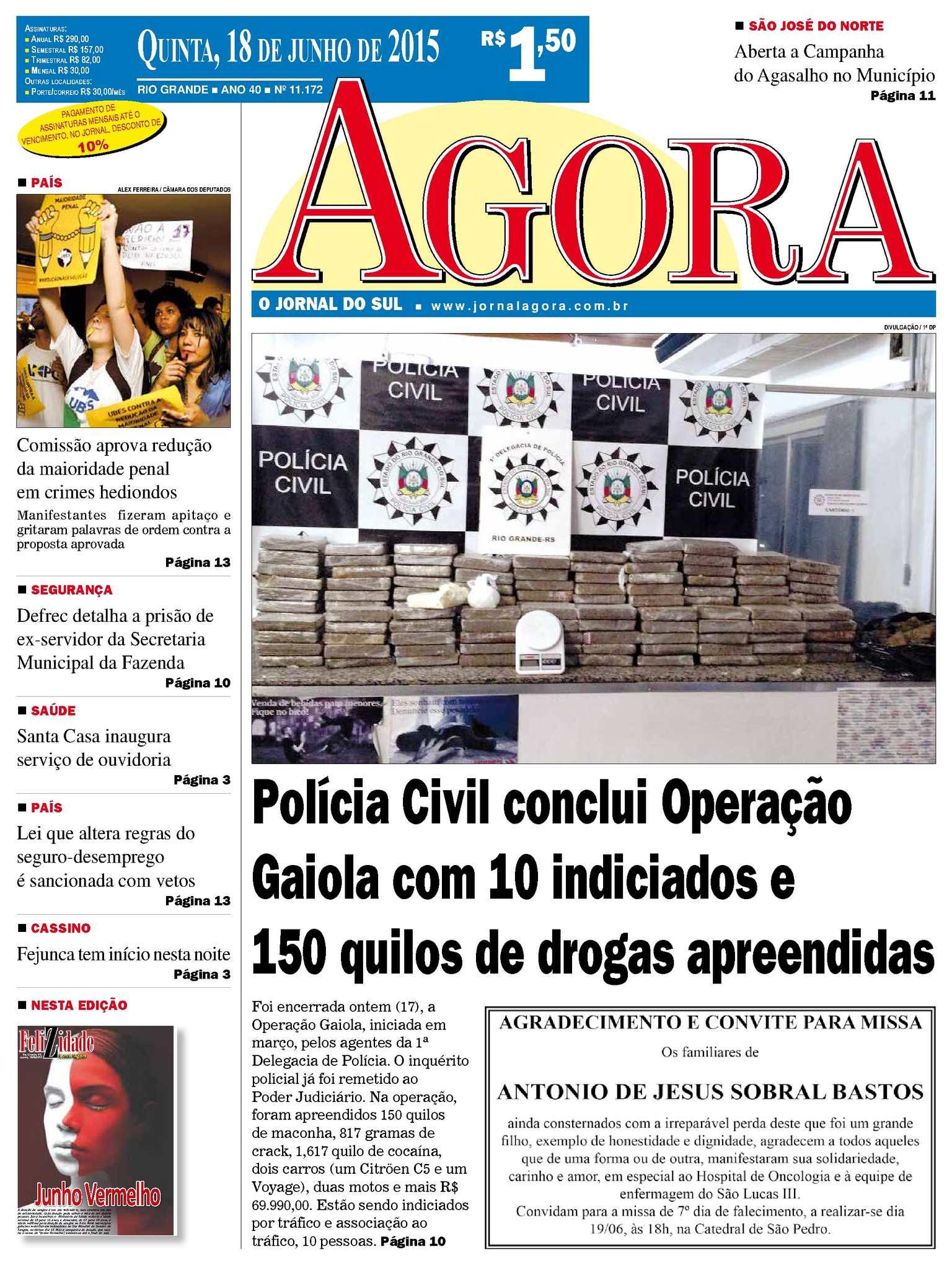 6cd318a4e02 Calaméo - Jornal Agora - Edição 11172 - 18 de Junho de 2015